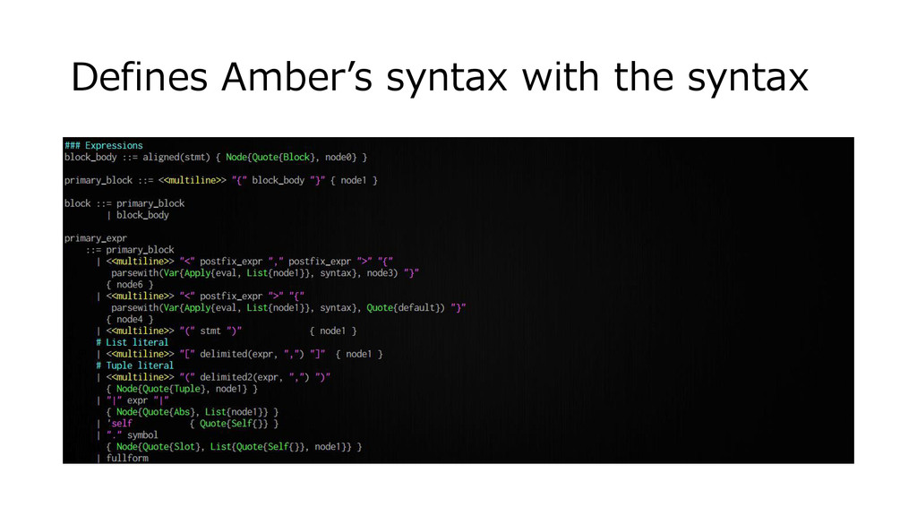 Defines Amber's syntax with the syntax