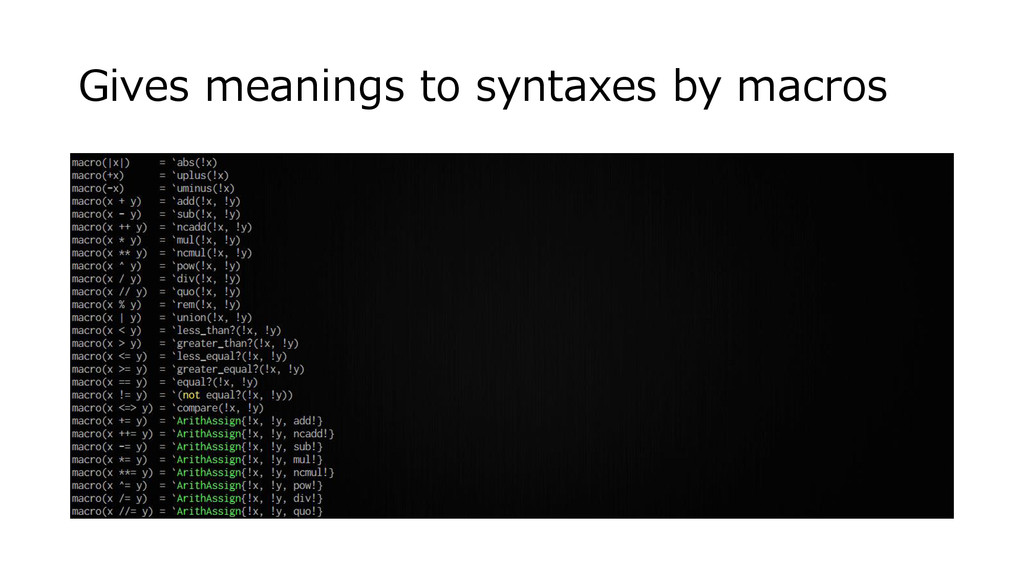 Gives meanings to syntaxes by macros