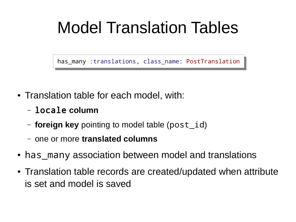 Model Translation Tables ● Translation table fo...