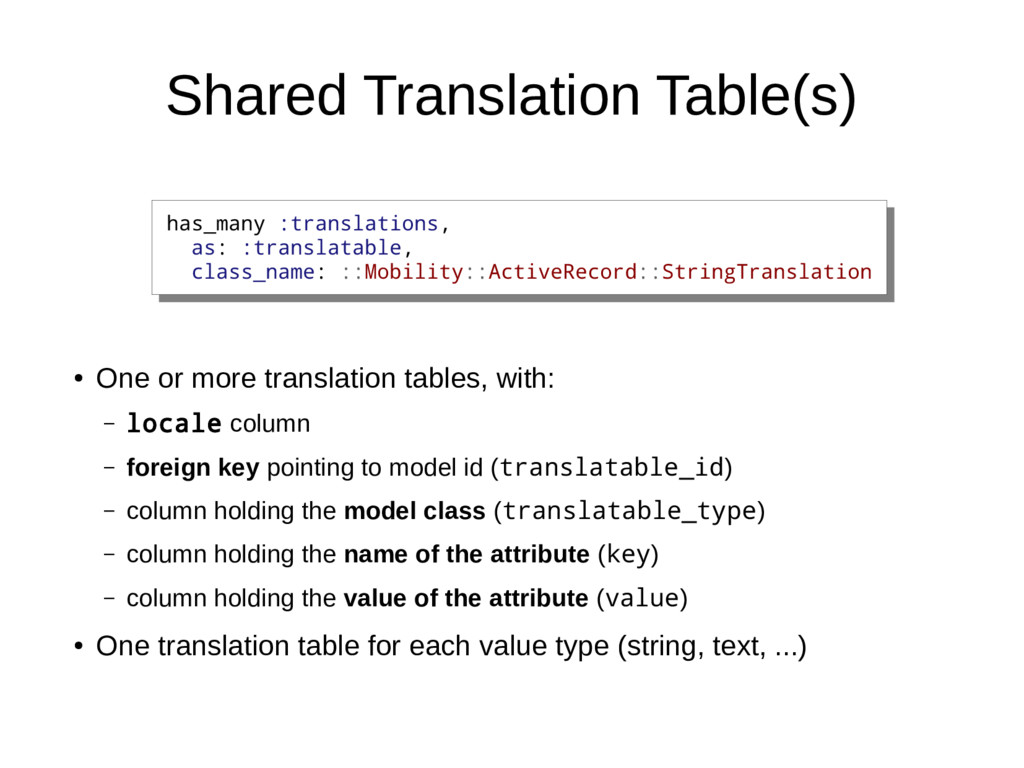 Shared Translation Table(s) ● One or more trans...