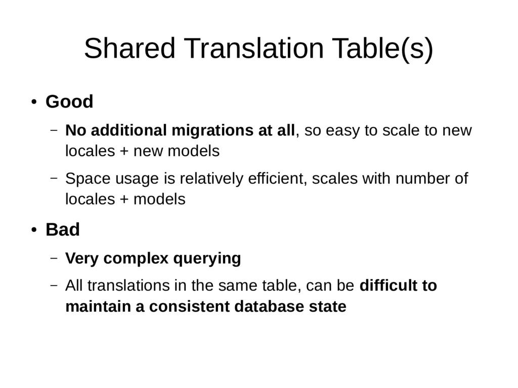 Shared Translation Table(s) ● Good – No additio...