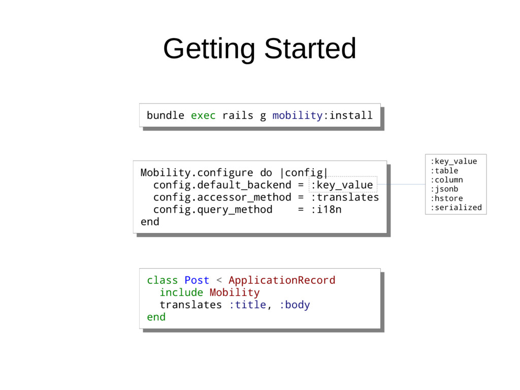 Getting Started bundle exec rails g mobility:in...