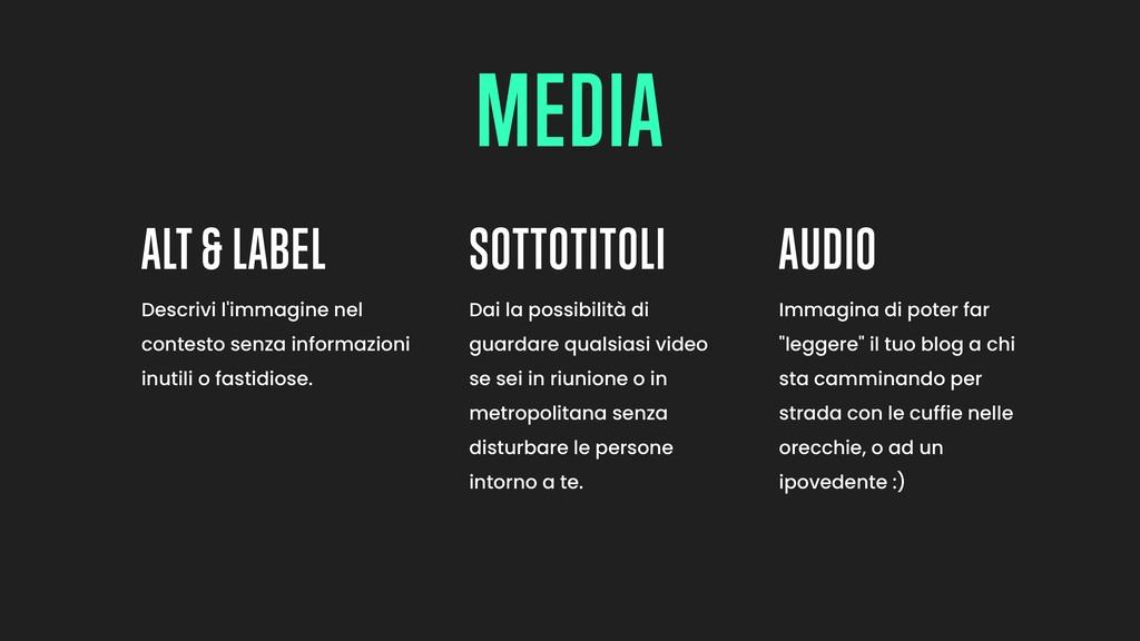 ALT & LABEL SOTTOTITOLI AUDIO Descrivi l'immagi...