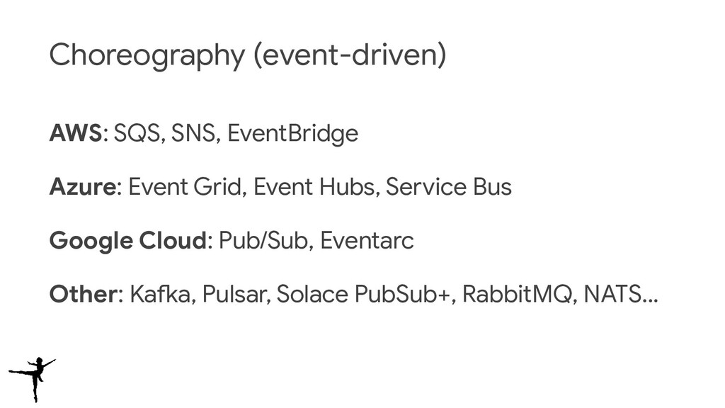 Choreography (event-driven) AWS: SQS, SNS, Even...