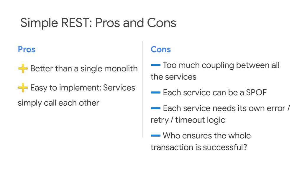 Simple REST: Pros and Cons Pros ➕ Better than a...