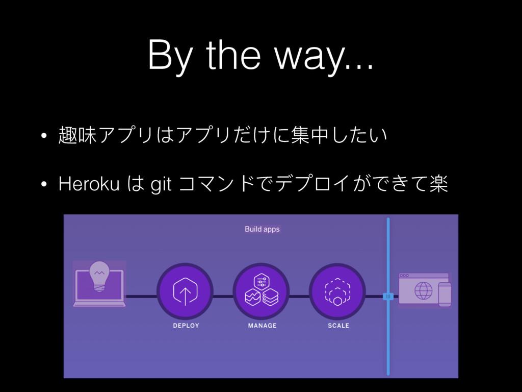 By the way... • ᪁ޱίϤϷ΅ίϤϷͶͧᵞӾͭ͵͚ • Heroku ΅ gi...