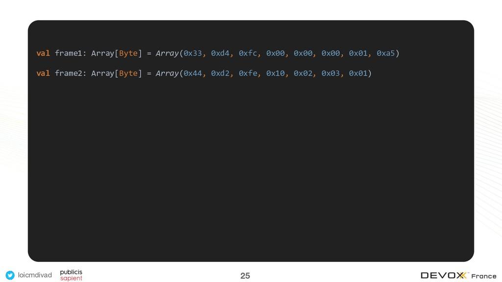 loicmdivad 25 val frame1: Array[Byte] = Array(0...