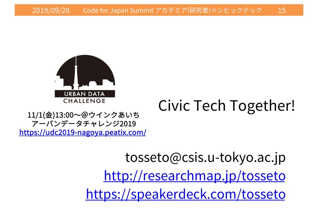 2019/09/28 Code for Japan Summit ( )× 15 Civic ...