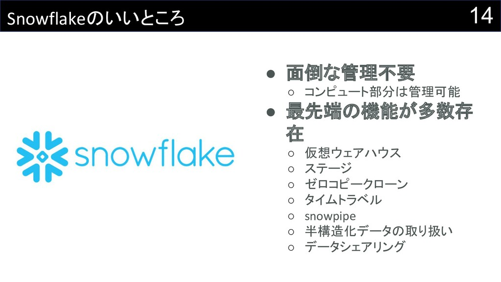 14 Snowflakeのいいところ ● 面倒な管理不要 ○ コンピュート部分は管理可能 ● ...