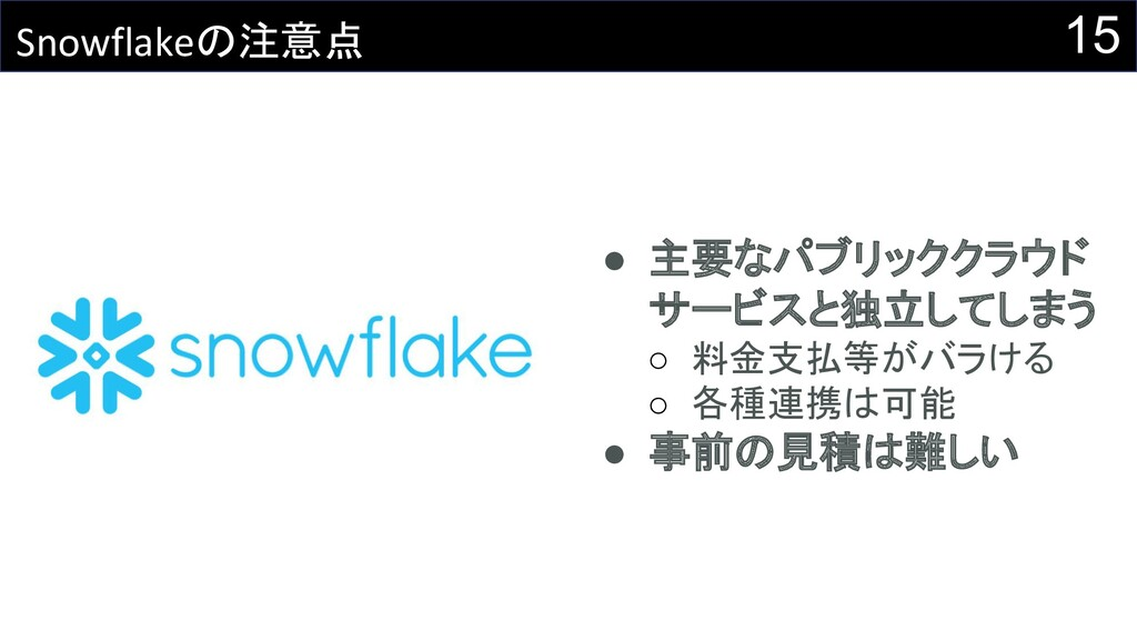 15 Snowflakeの注意点 ● 主要なパブリッククラウド サービスと独立してしまう ○ ...