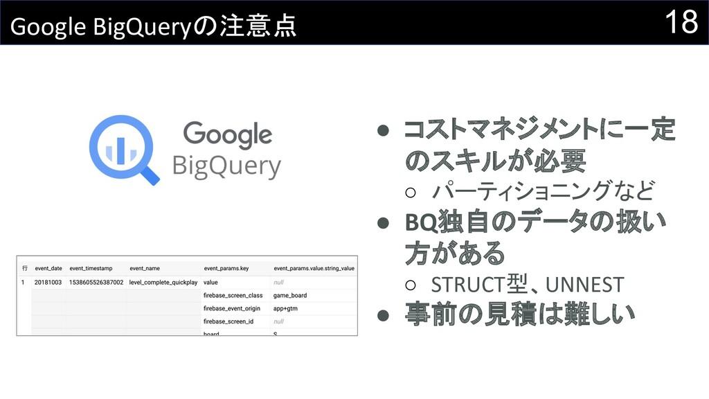 18 Google BigQueryの注意点 ● コストマネジメントに一定 のスキルが必要 ○...