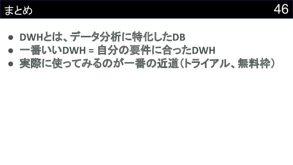 46 まとめ ● DWHとは、データ分析に特化したDB ● 一番いいDWH = 自分の要件に合...