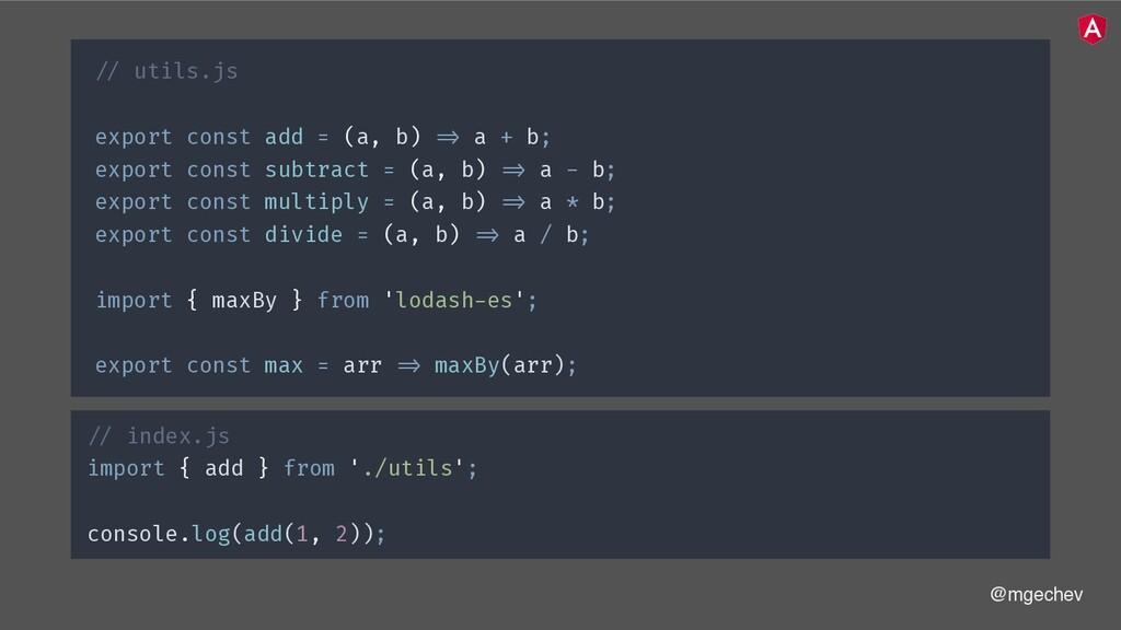 @mgechev !// utils.js export const add = (a, b)...