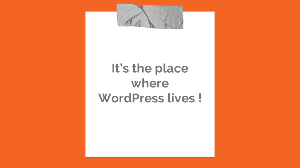 It's the place where WordPress lives !