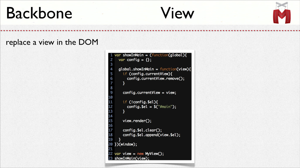 replace a view in the DOM Backbone View