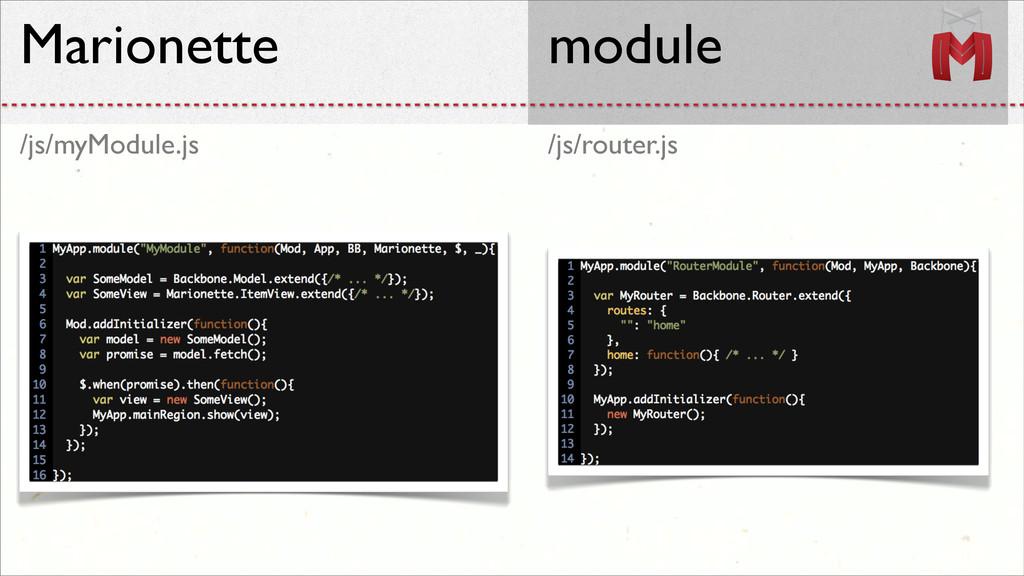 /js/router.js /js/myModule.js Marionette module