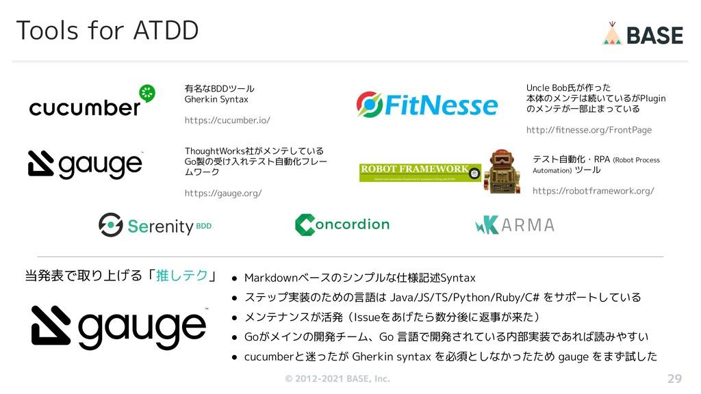 © 2012-2019 BASE, Inc. Tools for ATDD 有名なBDDツール...