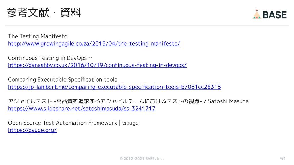 © 2012-2019 BASE, Inc. 参考文献・資料 The Testing Mani...