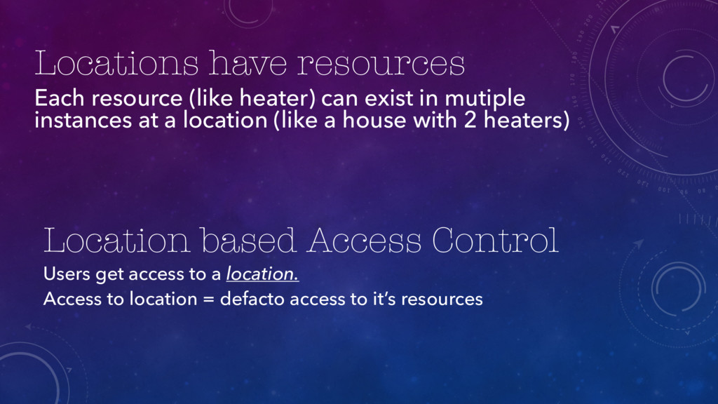 Locations have resources Each resource (like he...