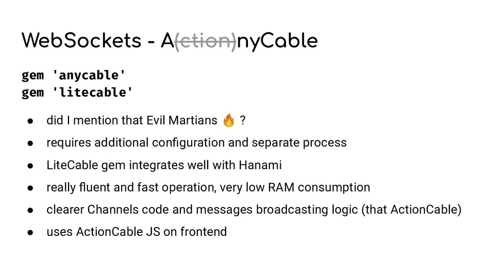 WebSockets - A(ction)nyCable gem 'anycable' gem...