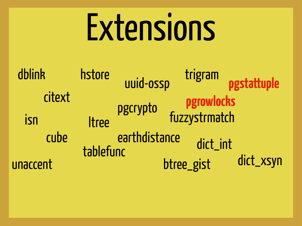 Extensions dblink hstore citext ltree isn cube ...
