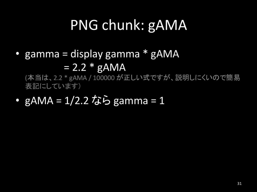 PNG chunk: gAMA • gamma = display gamma * gAMA...