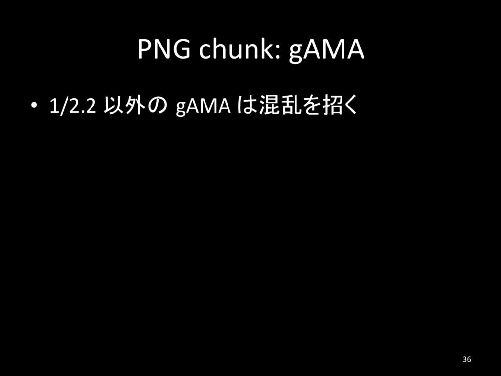 PNG chunk: gAMA • 1/2.2 以外の gAMA は混乱を招く 36