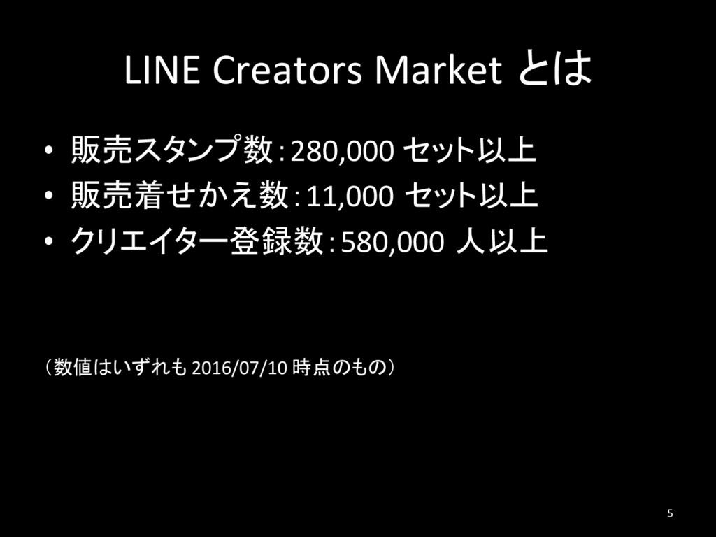 LINE Creators Market とは • 販売スタンプ数:280,000 セット以...