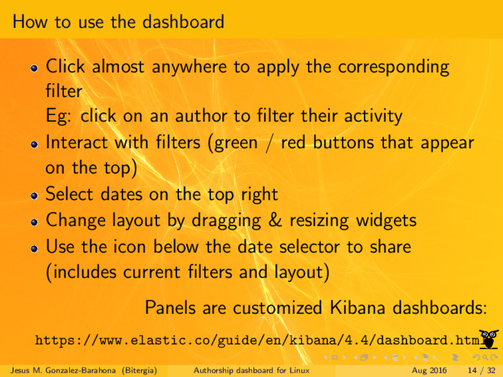 How to use the dashboard Click almost anywhere ...