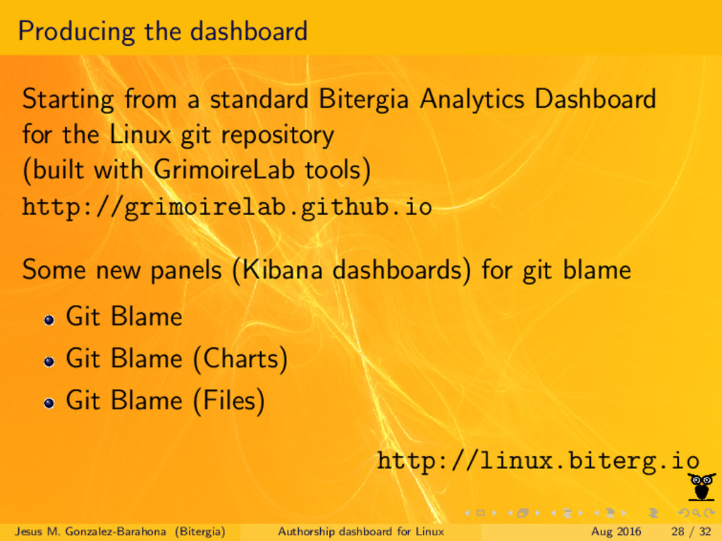 Producing the dashboard Starting from a standar...