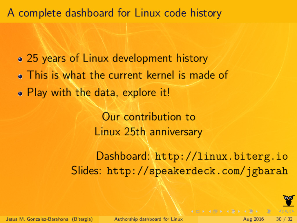 A complete dashboard for Linux code history 25 ...
