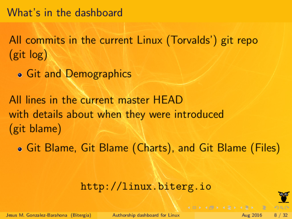 What's in the dashboard All commits in the curr...