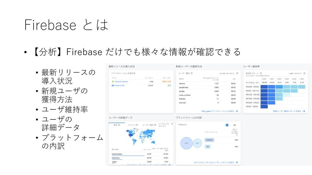 Firebase とは • 【分析】Firebase だけでも様々な情報が確認できる • 最新...