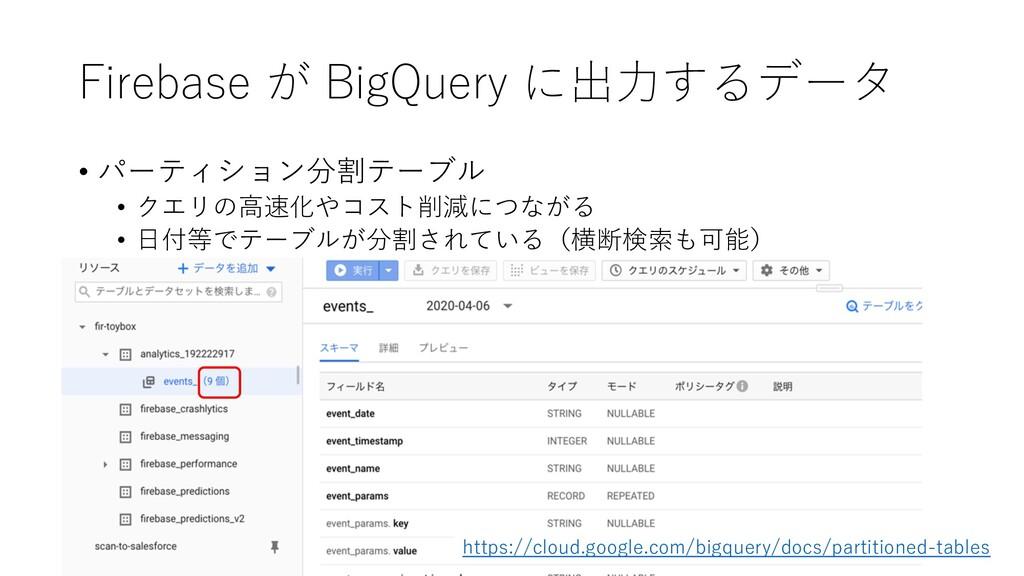 Firebase が BigQuery に出⼒するデータ • パーティション分割テーブル • ...