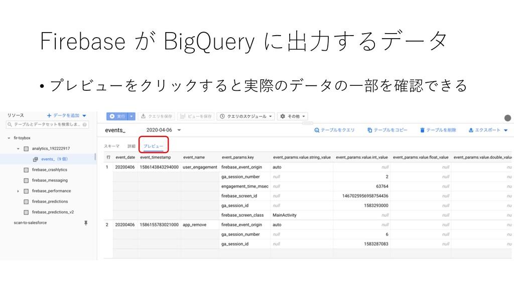 Firebase が BigQuery に出⼒するデータ • プレビューをクリックすると実際の...