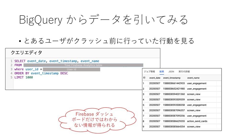 BigQuery からデータを引いてみる • とあるユーザがクラッシュ前に⾏っていた⾏動を⾒る...