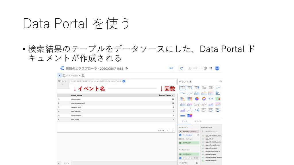 Data Portal を使う • 検索結果のテーブルをデータソースにした、Data Port...