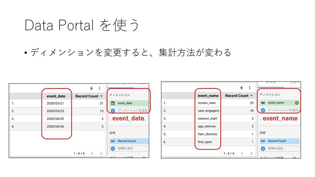 Data Portal を使う • ディメンションを変更すると、集計⽅法が変わる event_...