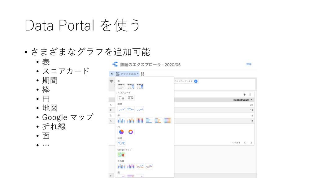 Data Portal を使う • さまざまなグラフを追加可能 • 表 • スコアカード • ...