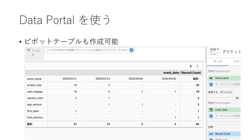 Data Portal を使う • ピボットテーブルも作成可能