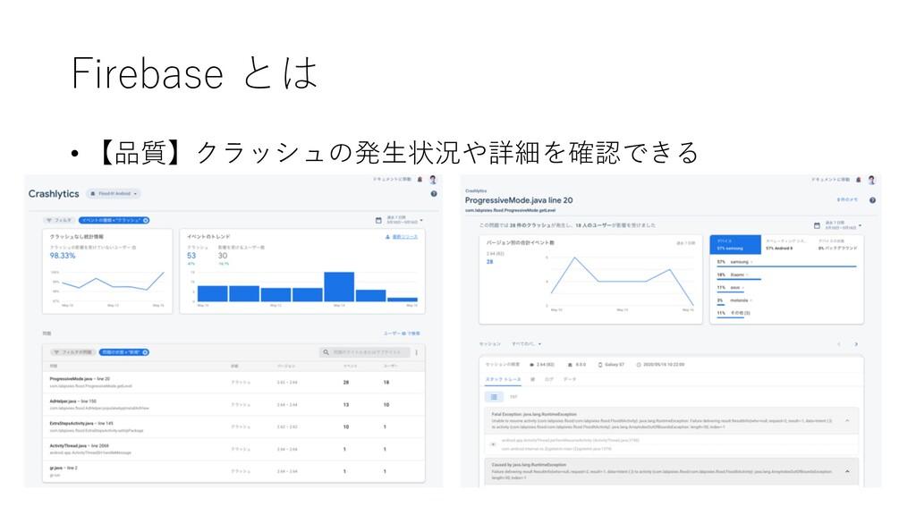 Firebase とは • 【品質】クラッシュの発⽣状況や詳細を確認できる