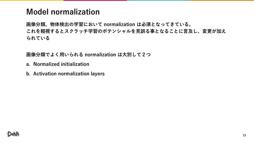 Model normalization 画像分類、物体検出の学習において normalizat...