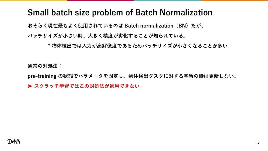 Small batch size problem of Batch Normalization...