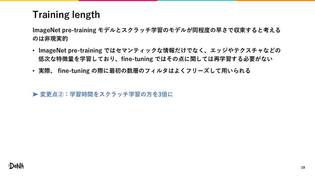 Training length ImageNet pre-training モデルとスクラッチ...