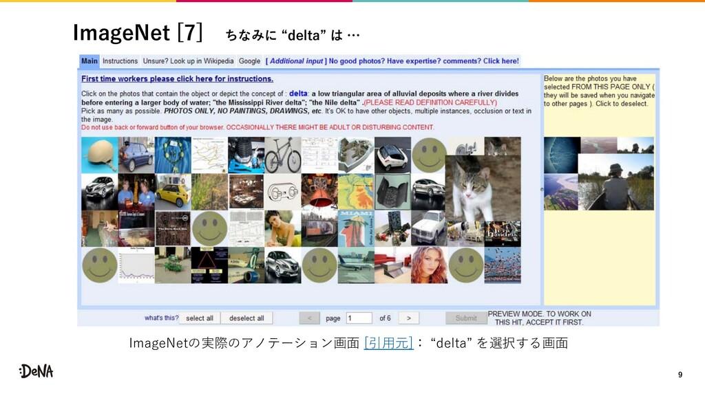 "ImageNet [7] ちなみに ""delta"" は … 9 ImageNetの実際のアノテ..."