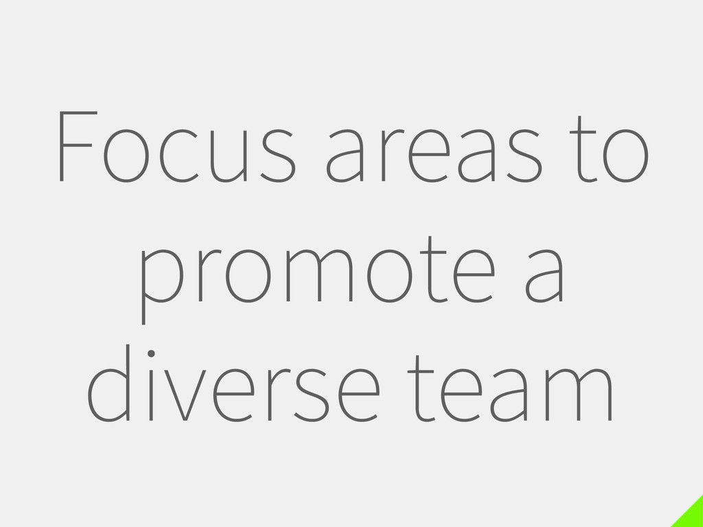 Focus areas to promote a diverse team