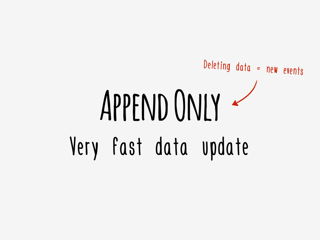 Append Only Very fast data update Deleting data...