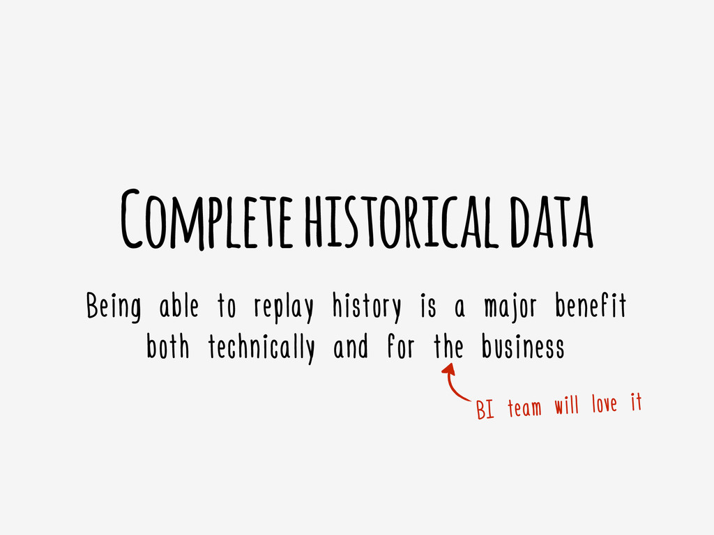 Complete historical data Being able to replay h...