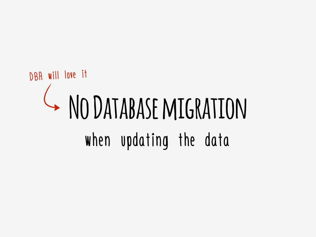 No Database migration when updating the data DB...