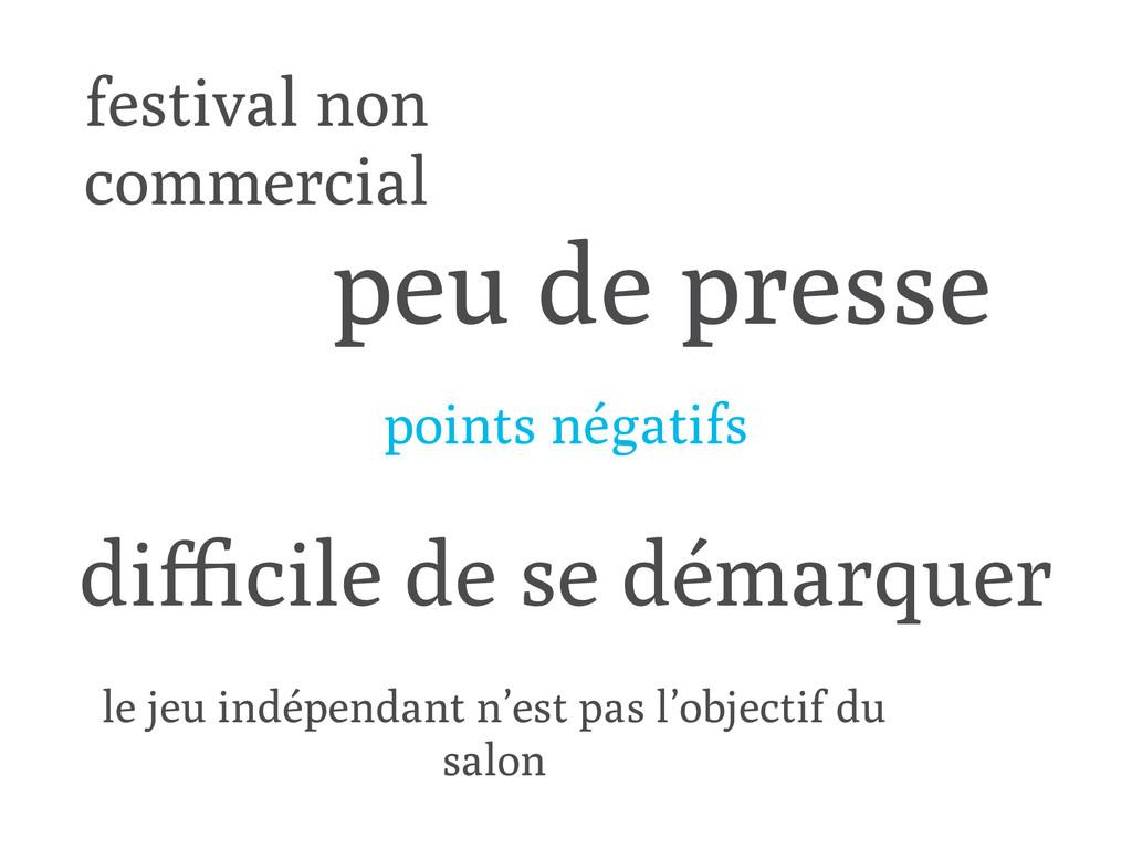festival non commercial difficile de se démarquer...